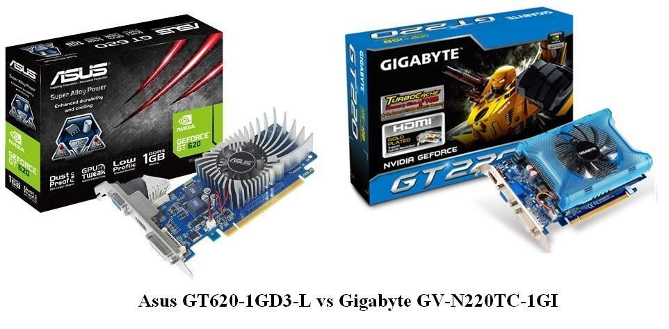 Asus GT620-1GD3-L vs Gigabyte GV-N220TC-1GI