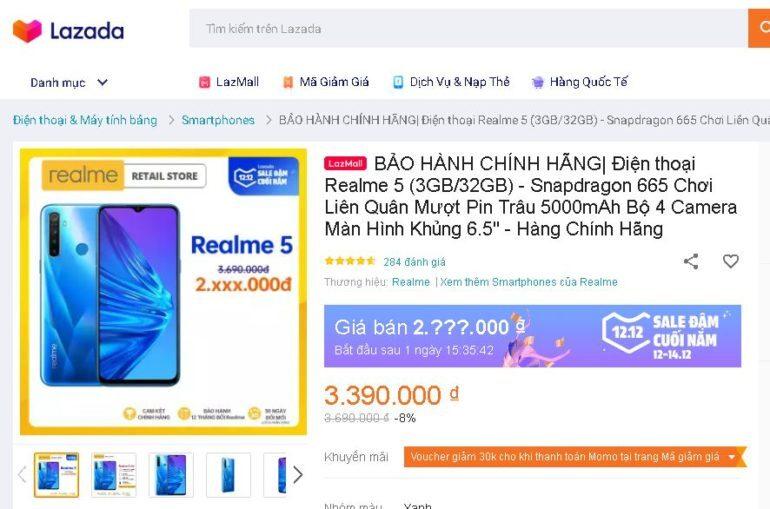 Điện thoại Realme 5 32GB - Giá giảm Siêu sale 12.12 chỉ còn 2.xxx.000 vnđ