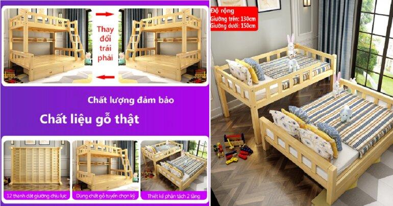 Giường 2 tầng trẻ em giá rẻ FU163 - Giá tham khảo: 5.999.000 vnđ