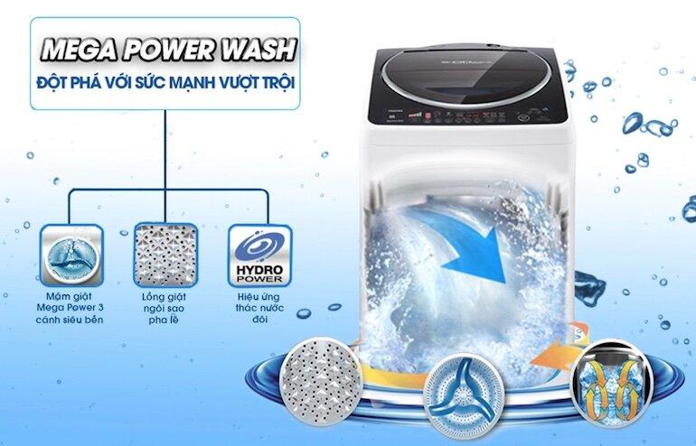 Mâm giặt Mega Power Wash giúp loại bỏ vết bẩn cứng đầu hiệu quả