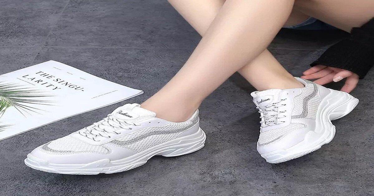 giày nữ đế cao trắng