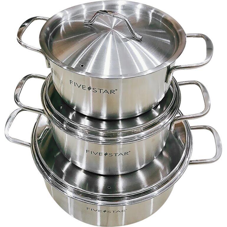 Bộ 3 nồi Inox Fivestar 3CNI dùng được lâu, sử dụng chất liệu an toàn