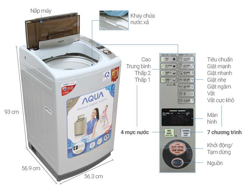 Mẫu máy giặt AQUA AQW-S72CT H2 với thiết kế an toàn cho cả gia đình
