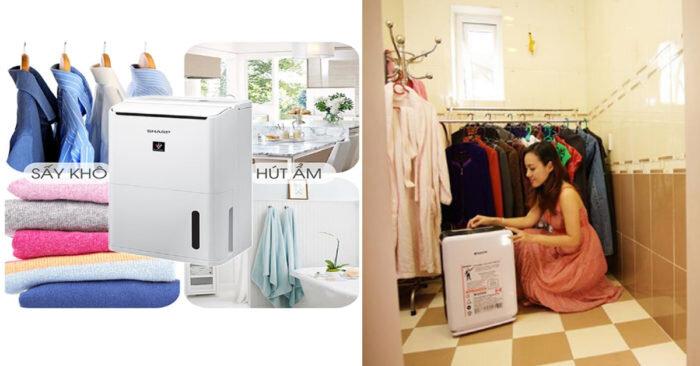 Sấy khô quần áo với máy hút ẩm