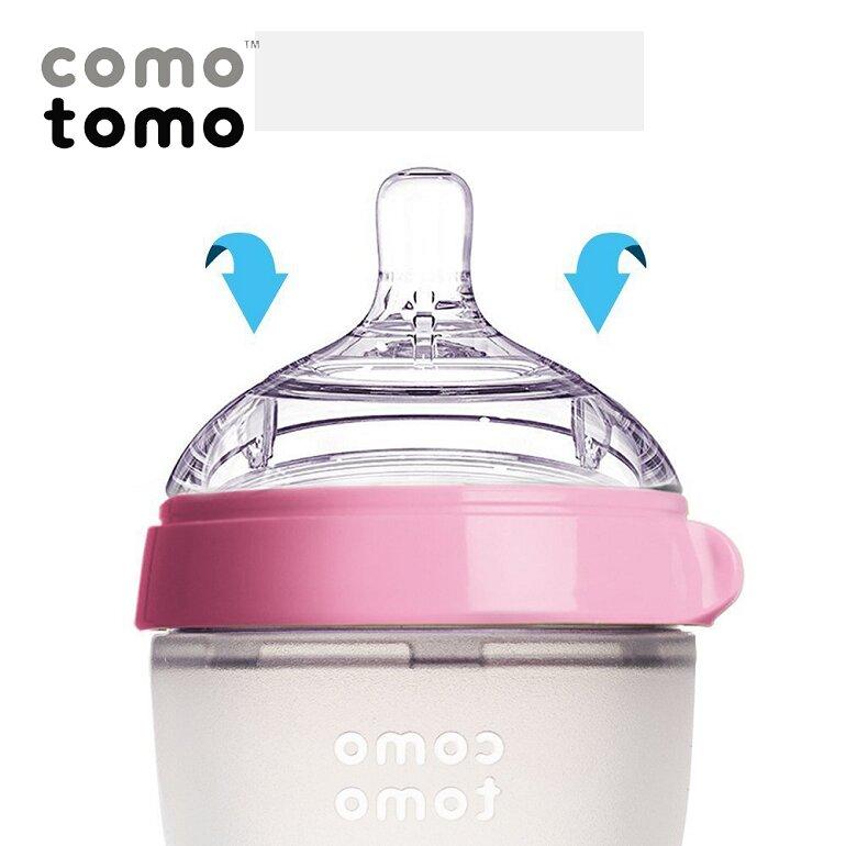 Núm ti của bình sữa Comotomo có tính năng chống sặc, chống đầy hơi