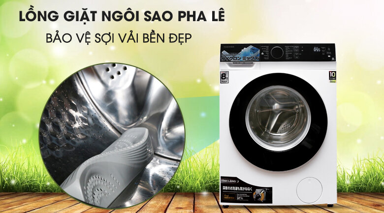 Lồng giặt với thiết kế ngôi sao pha lê bảo vệ áo quần của máy giặt cửa ngang Toshiba