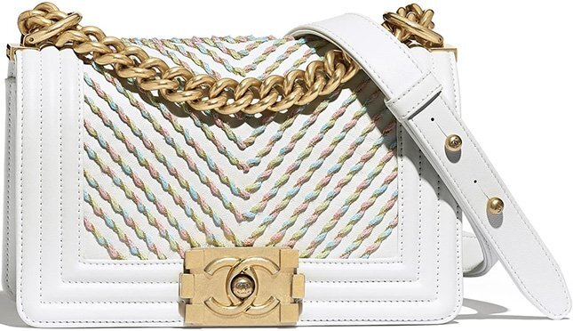 Chanel Small Embroidered Calfskin Chevron Boy Bag