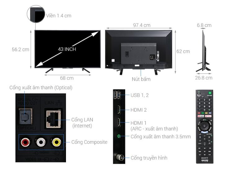 Smart Tivi Sony 43 inch KDL-43W660F - Giá tham khảo: 7.290.000 vnđ - 10.900.000 vnđ