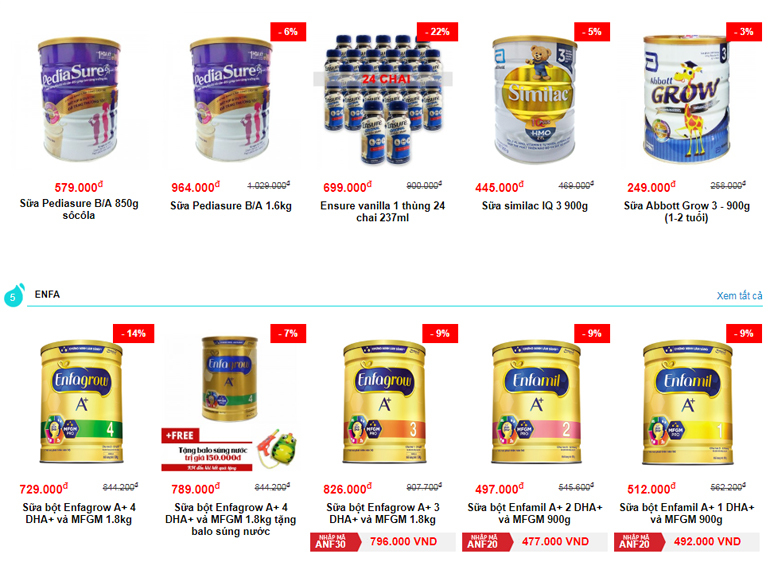 Chương trình giảm giá trực tiếp vào sản phẩm