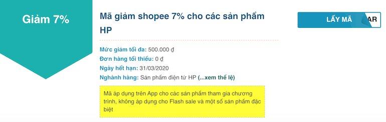 Shopee giảm 7% cho các sản phẩm HP
