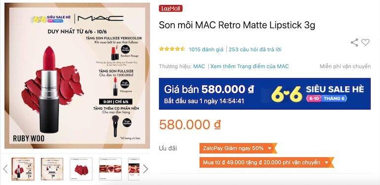 Son môi MAC Retro Matte Lipstick 3g 580,000