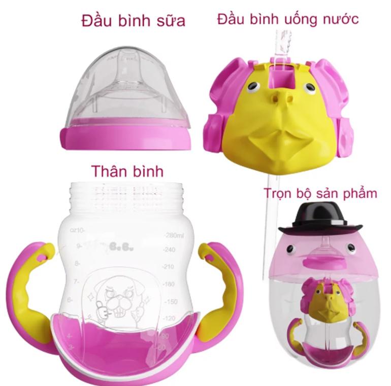 Bình sữa Bebu có thể sử dụng làm bình nước cho bé uống