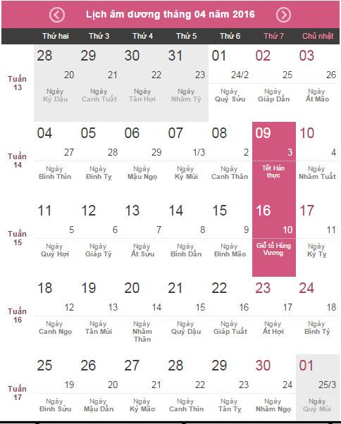 Lịch nghỉ lễ Giỗ tổ Hùng Vương 2016