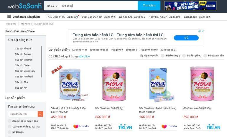 Giá sữa Glico