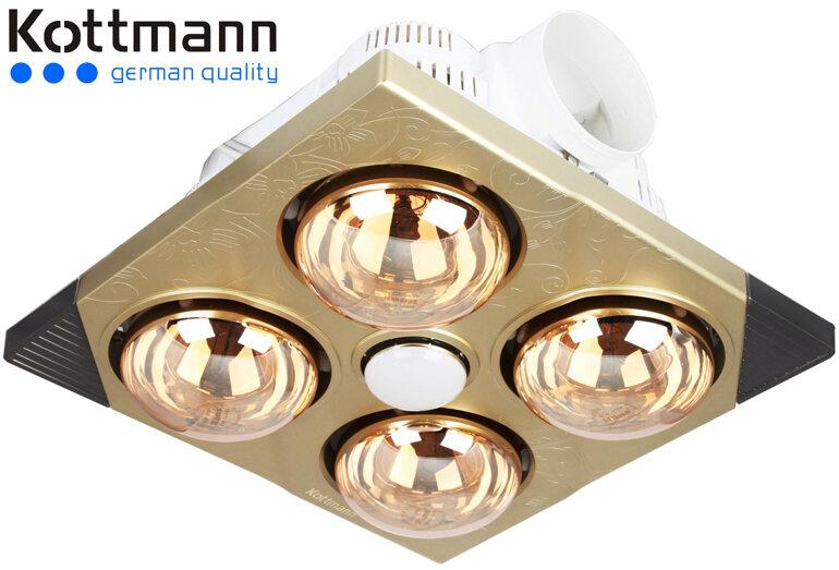 Đèn sưởi nhà tắm âm trần Kottmann với bóng mạ vàng