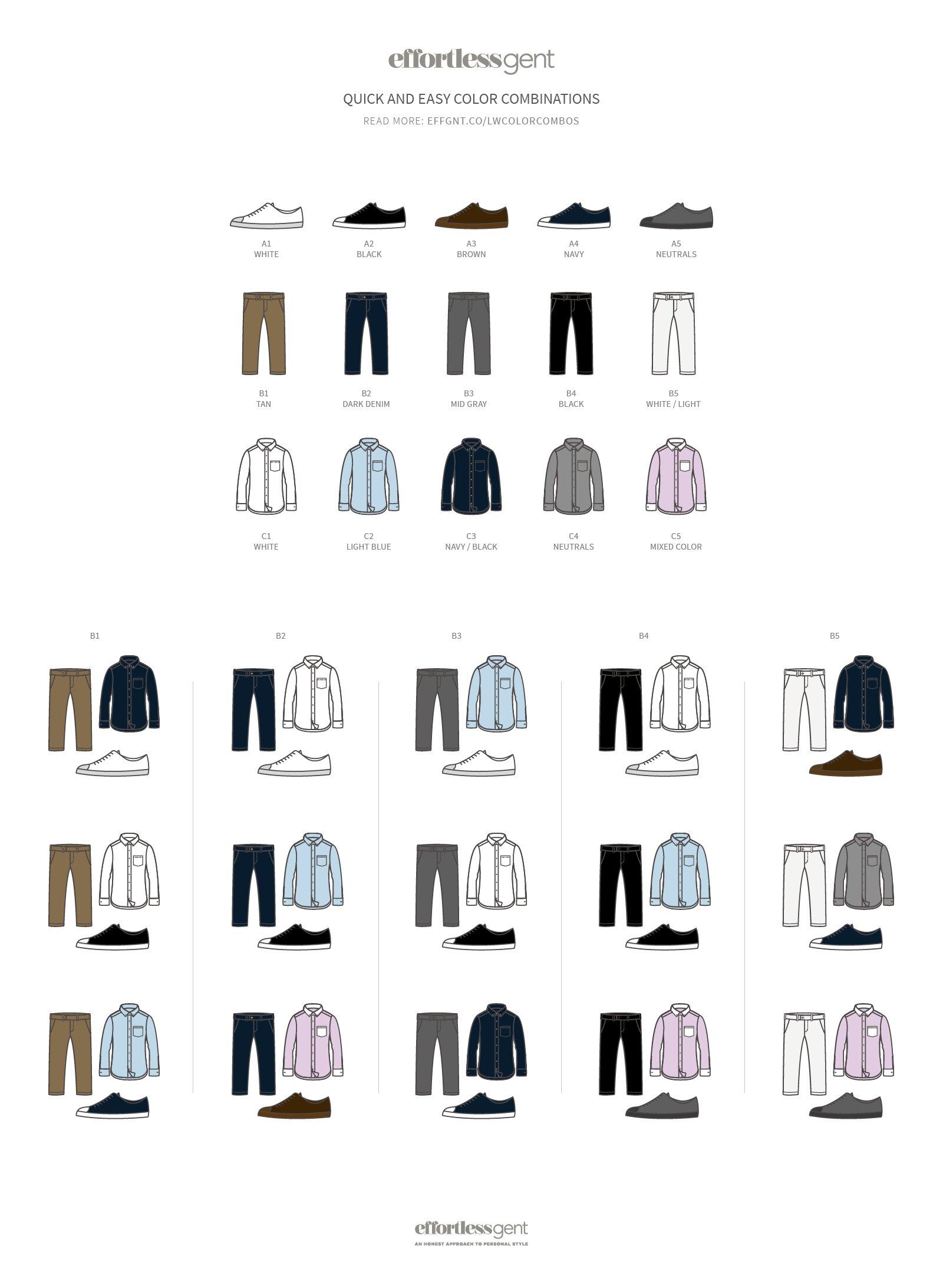 Phối hợp quần-áo-giày siêu dễ dàng.