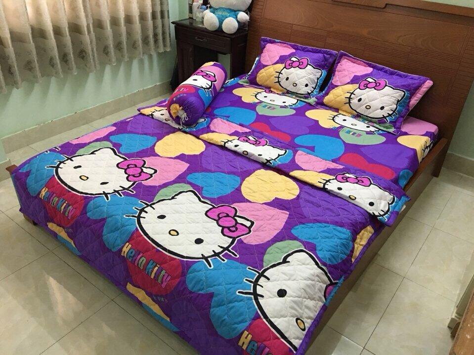 Bộ chăn ga gối đệm Hello Kitty này bao gồm một chăn bông ruột 190x210cm, một ga bông và hai vỏ gối đầu. Hiện tại sản phẩm đang được bán trên thị trường với giá chỉ từ 800.000 - 1.200.000VND