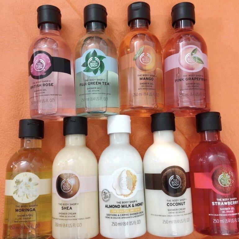 Sữa tắm The Body Shop có mấy loại và có bao nhiêu mùi hương ?