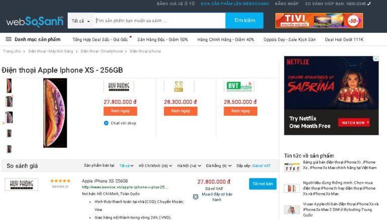 So sánh giá iPhone XS 256 gb giữa các cửa hàng