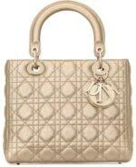 Medium Lady Dior Gold Bag