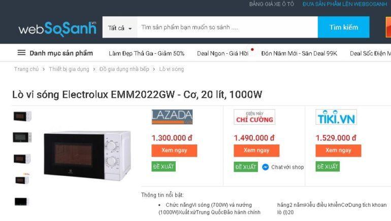 Lò vi sóng Electrolux EMM2022GW 20 lít