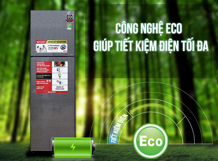 Sản phẩm Sharp SJ-X201E-DS được trang bị công nghệ Eco giúp tiết kiệm điện tối đa.