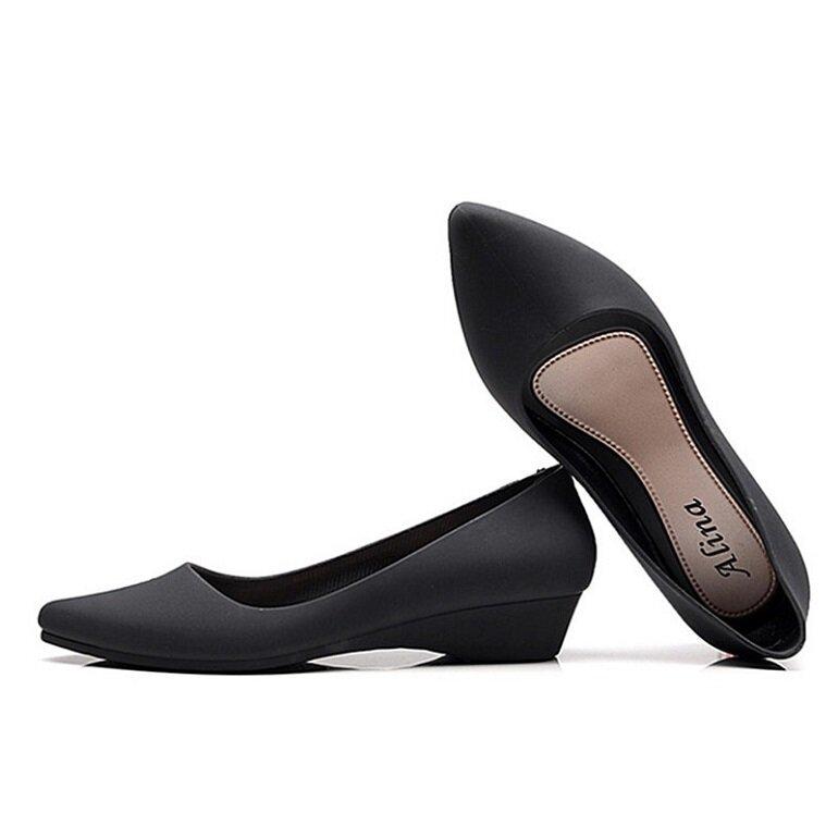 giày búp bê nhựa đế cao
