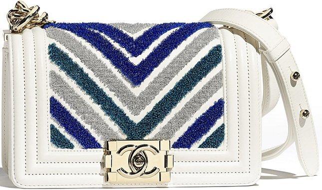 Chanel Small Boy Embroidered Lurex Chevron Bag