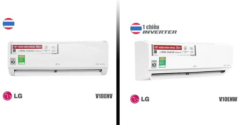 So sánh Điều hòa LG V10ENW và điều hòa LG V10ENV về thiết kế