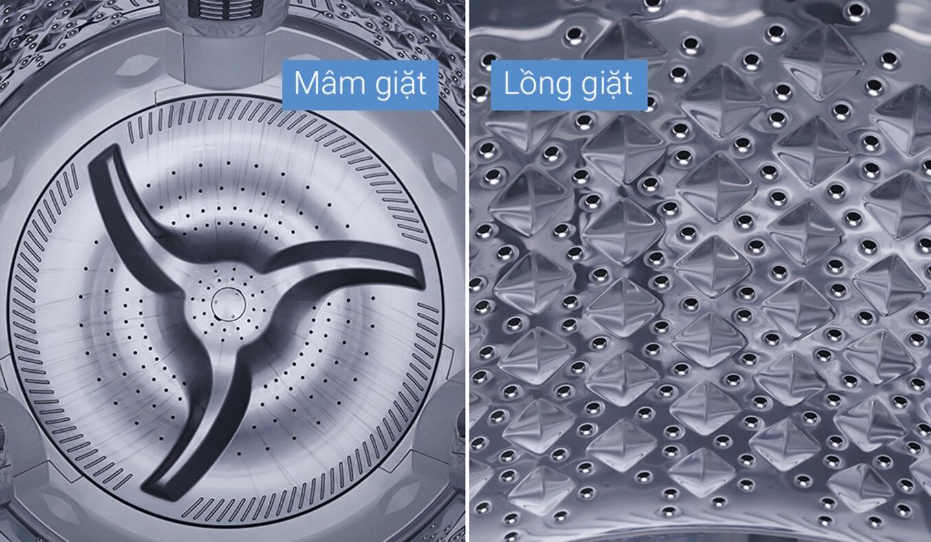 Thiết kế lồng giặt của máy giặt cửa trên Toshiba 16kg AW-DUG1700WV