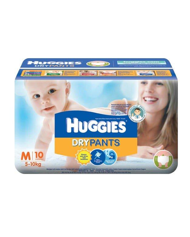 Huggies Dry Pants M10 thiết kế màng đáy thoát ẩm 100%