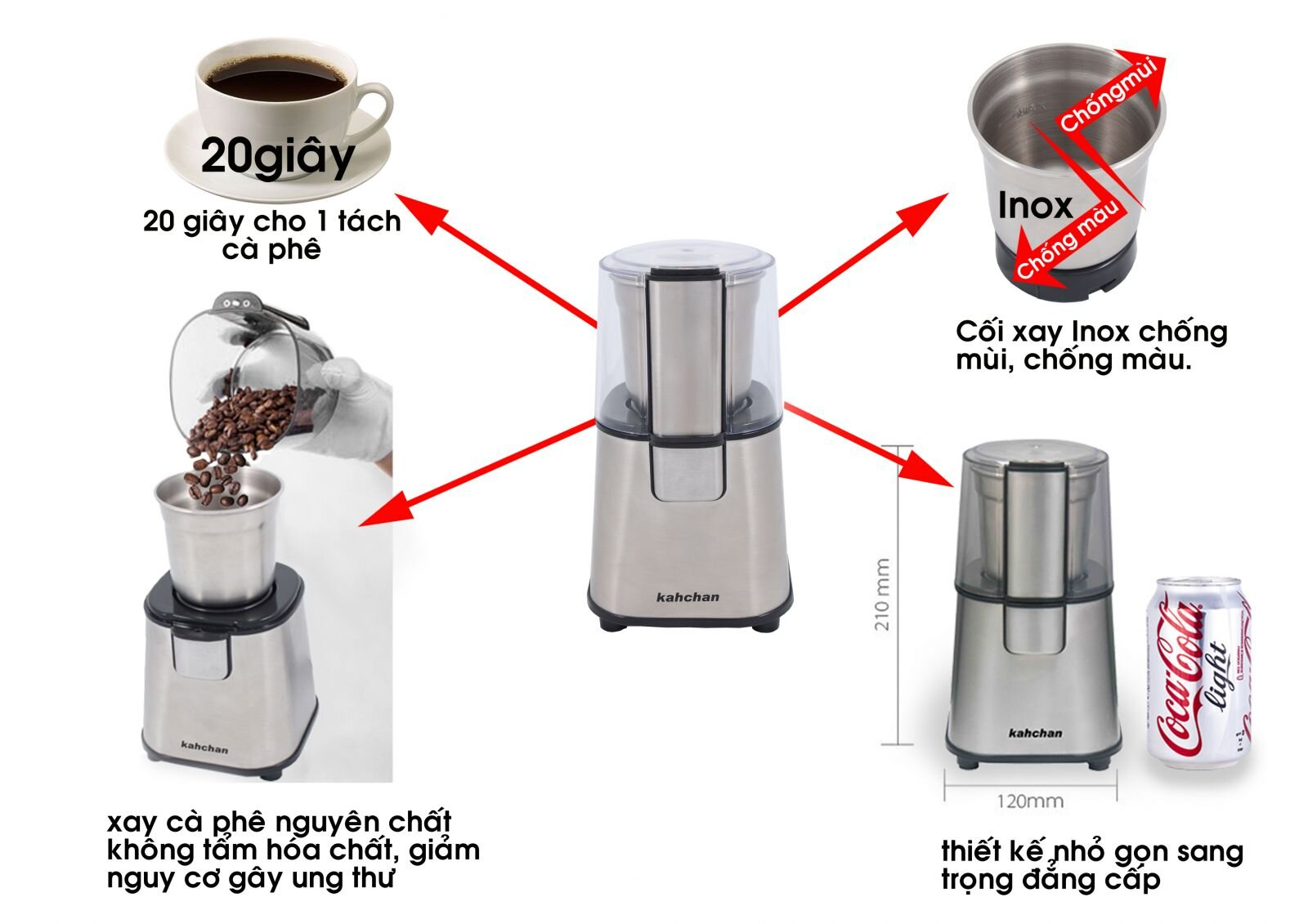 Máy xay cà phê đa năng Kahchan CG9100 180W