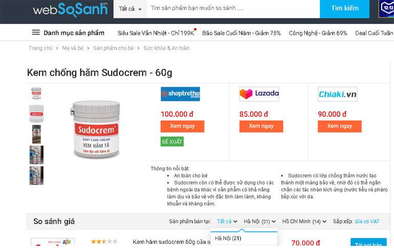 Kem chống hăm Sudocrem 60g - Giá rẻ nhất: 70.000 vnđ