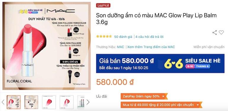 Son dưỡng ẩm có màu MAC Glow Play Lip Balm 3.6g 580,000