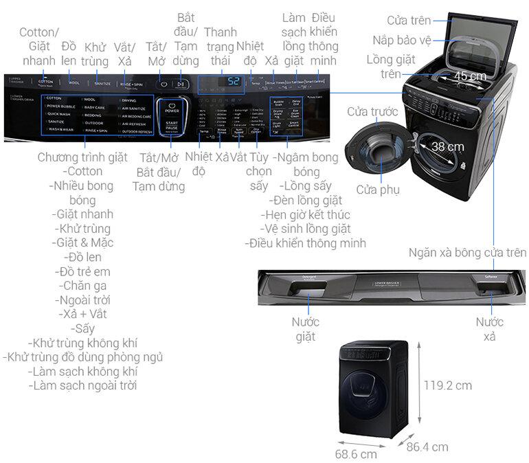 Máy Giặt Hai Lồng Giặt Flexwash WR24M9960KV/SV