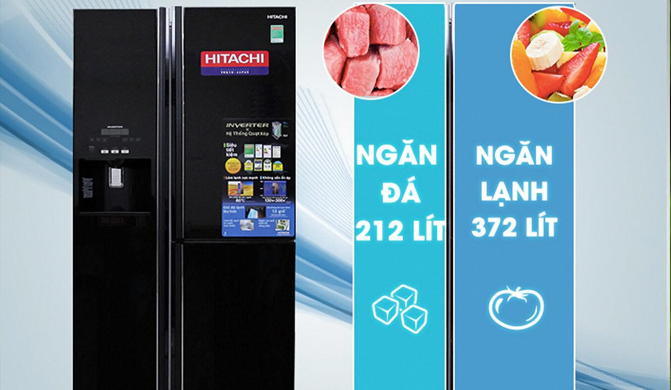 Tủ lạnh Hitachi 584 lít có dung tích lớn cho phép người dùng lưu trữ thực phẩm thoải mái