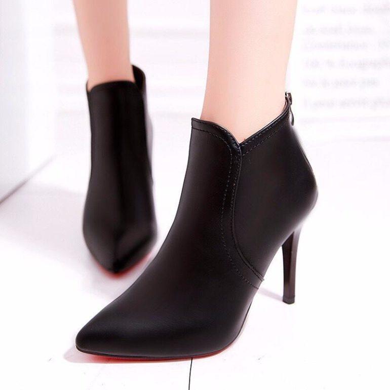 Giày boot nữ cổ ngắn gót mũi nhọn