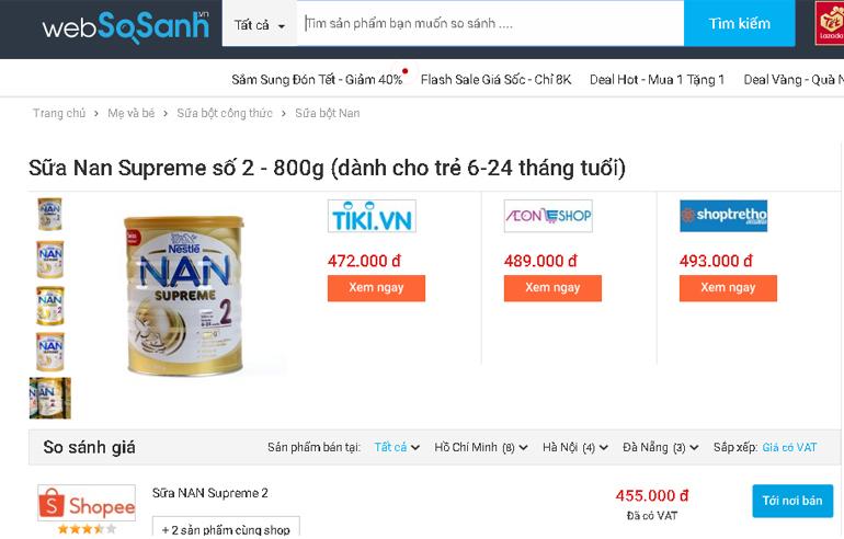 Giá sữa Nan Supreme 2 bao nhiêu tiền?