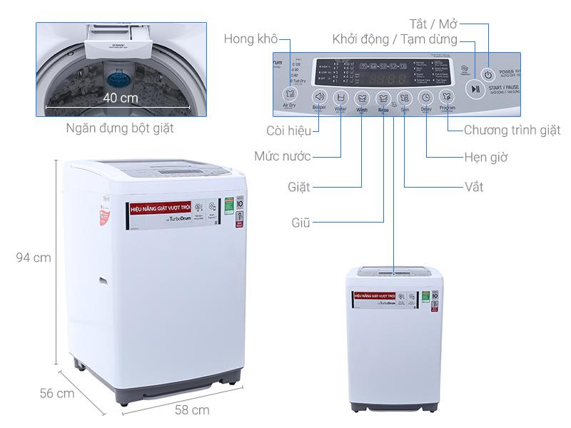 Máy giặt LG Inverter 9.5 kg T2395VSPW
