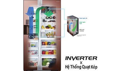 Tủ lạnh 4 cánh Hitachi R-W720FPG1X (GGB) - 582 Lít
