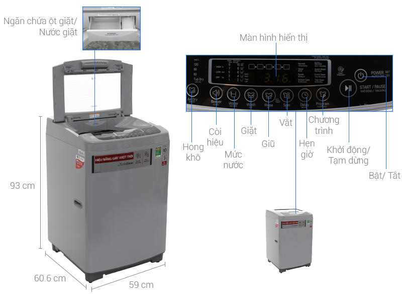 Máy giặt LG Inverter 9.5 kg T2395VSPM