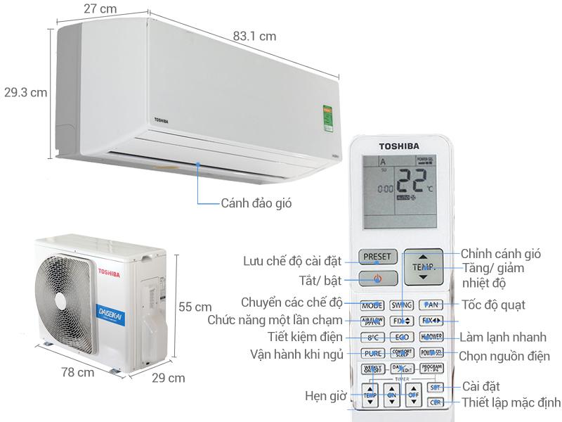 Điều hòa 2 chiều Toshiba Inverter 1 HP RAS-H10G2KVP-V
