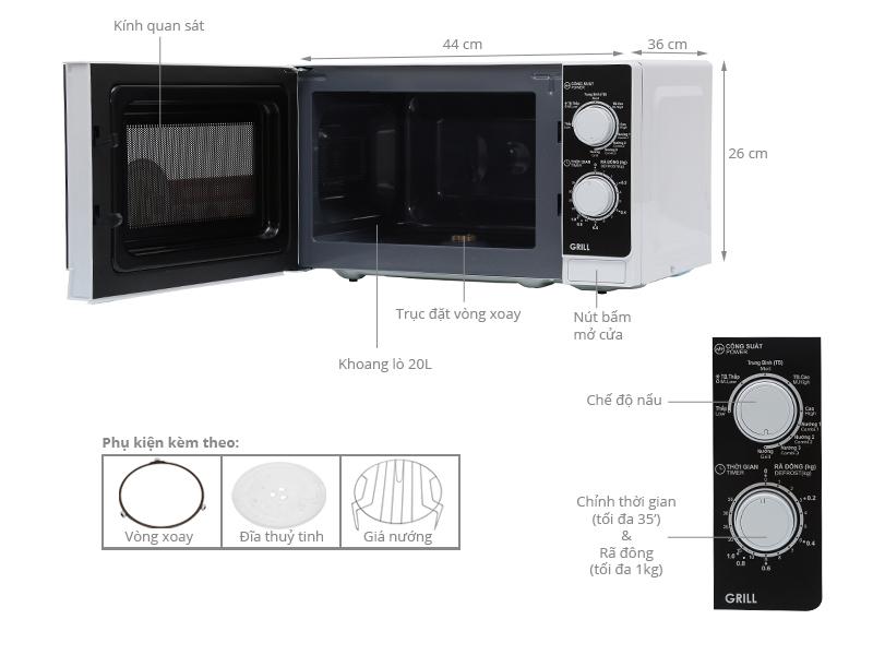 Lò vi sóng Sharp R-G221VN-W 20 lít