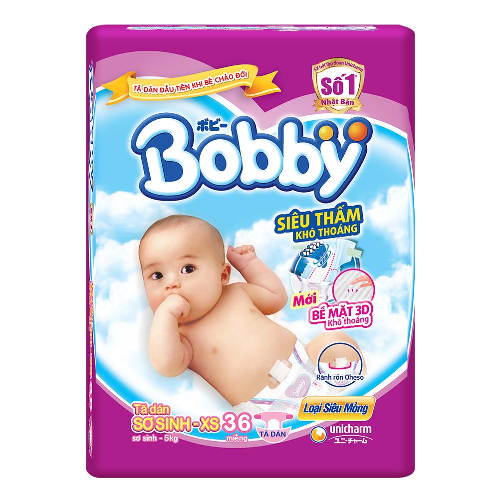 Bỉm - Tã dán Bobby size Newborn XS 36 miếng (cho bé ~ 5kg)