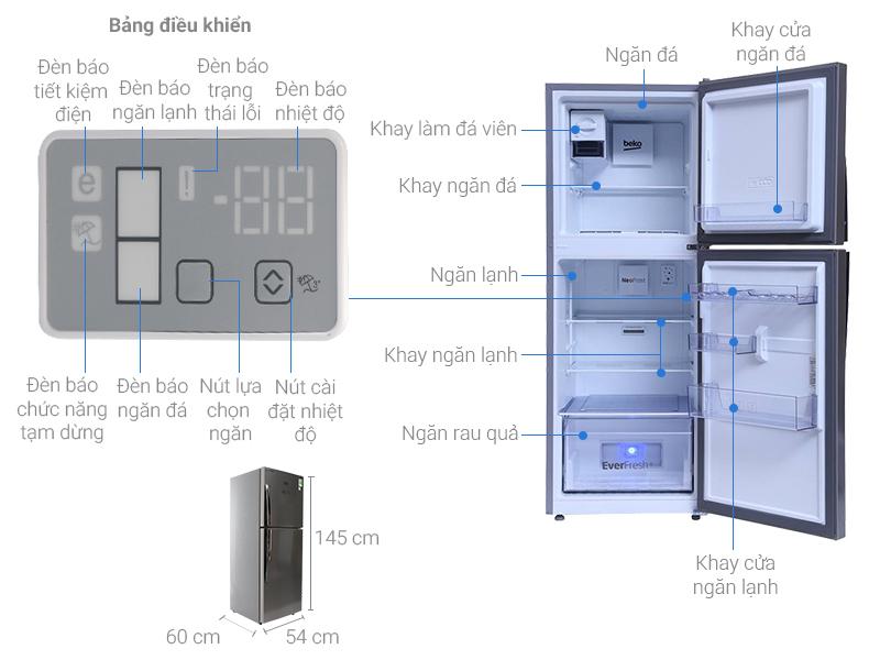 Tủ lạnh Beko 230 lít RDNT230I55VZX
