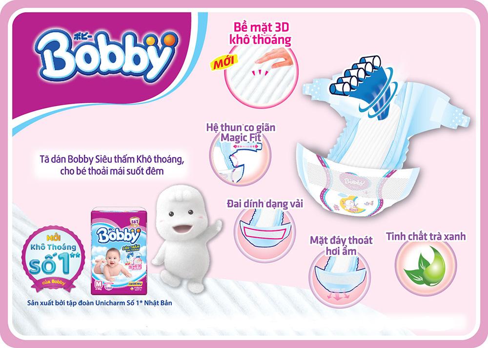Bỉm - Tã dán  Bobby size XS 72 miếng (cho bé