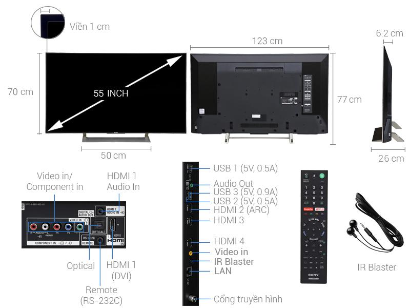 Smart Tivi Sony 4K 55 inch KD-55X9000E