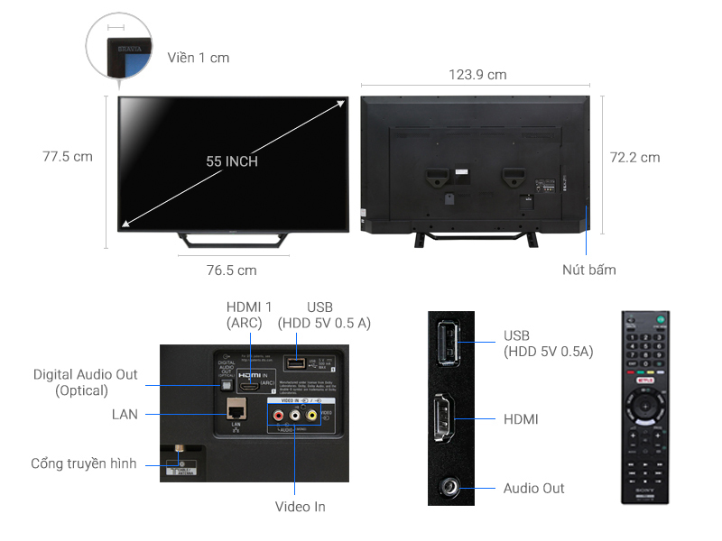 Internet Tivi Sony 55 inch KDL-55W650D
