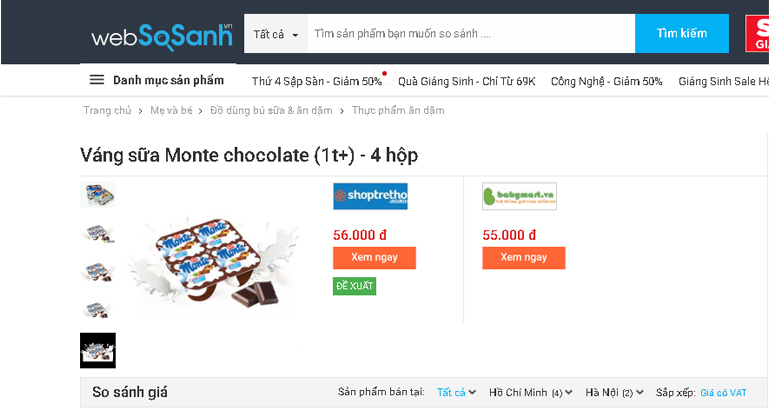 Váng sữa Monte chocolate (1t ) - 4 hộp