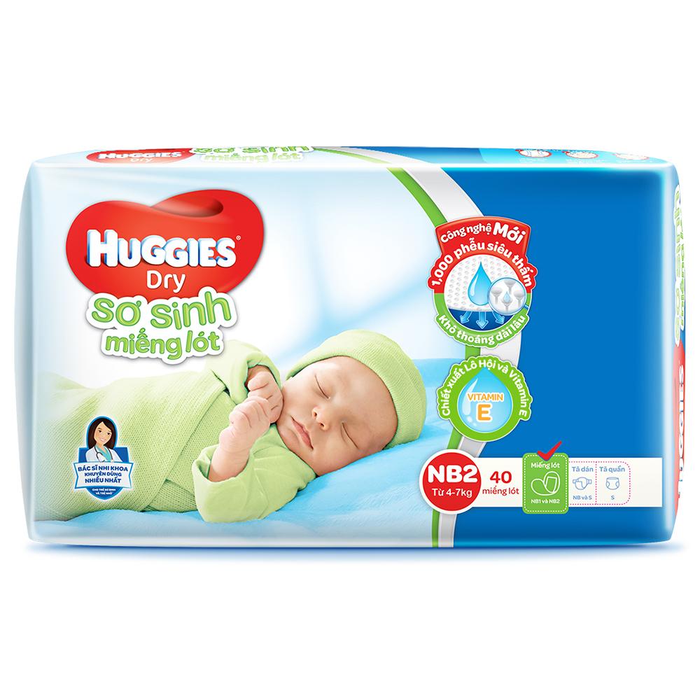 Miếng lót sơ sinh Huggies Newborn2 - 40 miếng (cho bé 4-7kg)